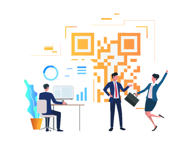 Cheerful business people in office, financial data and QR code